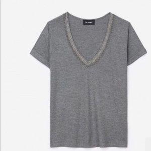 Kooples viscose tee shirt with jeweled braiding